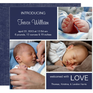 Multiple Photo Birth Announcement//Navy Blue Denim Card