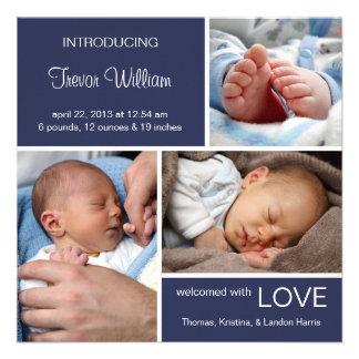 Multiple Photo Birth Announcement Navy Blue Denim Custom Announcements