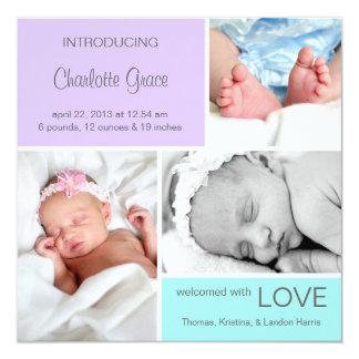 Multiple Photo Birth Announcement//Purple Aqua Card