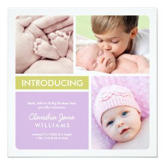 Multiple Photo Birth Announcement   Purple Green