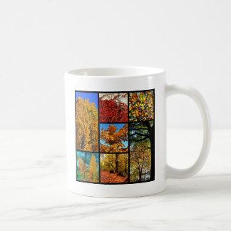 Multiple photos of autumn foliage coffee mug