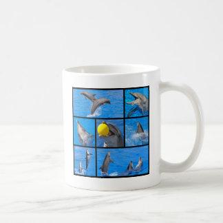 Multiple photos of dolphins coffee mug