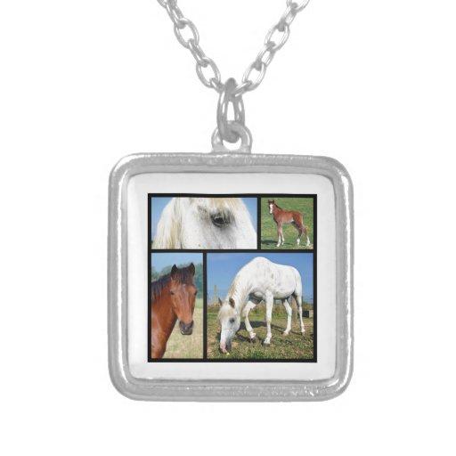 Multiple photos of horses pendants