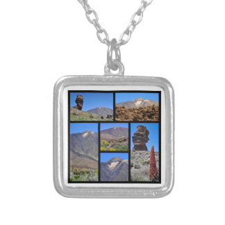 Multiple photos of Mount Teide at Tenerife Silver Plated Necklace