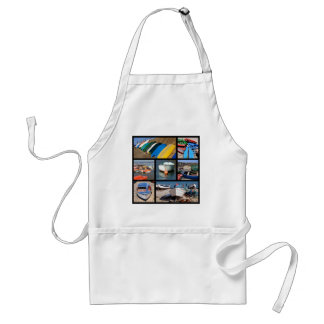 Multiple photos of small boats adult apron