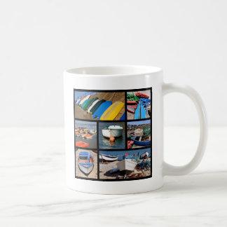 Multiple photos of small boats coffee mug