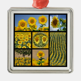 Multiple photos of Sunflowers Metal Ornament