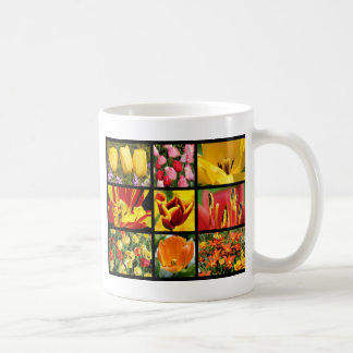 Multiple photos of tulip flowers coffee mug