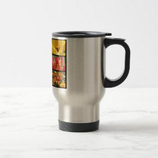 Multiple photos of tulip flowers travel mug