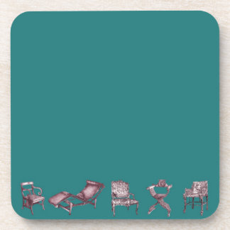 Multiple Regency chairs in turquoise Beverage Coaster