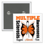 Multiple Sclerosis Awareness Butterfly 2 Inch Square Button