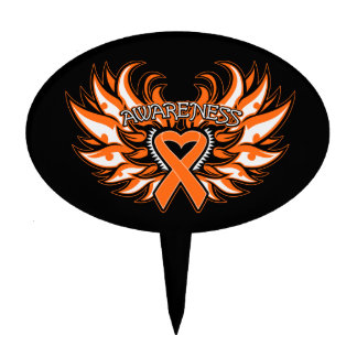 Multiple Sclerosis Awareness Heart Wings Cake Topper
