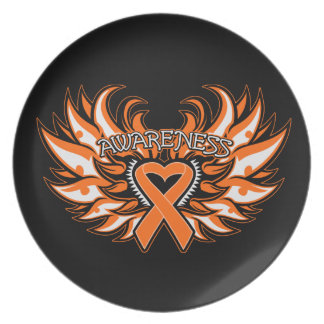 Multiple Sclerosis Awareness Heart Wings Party Plate
