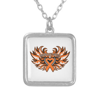 Multiple Sclerosis Awareness Heart Wings Square Pendant Necklace