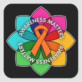 Multiple Sclerosis Awareness Matters Petals Square Sticker
