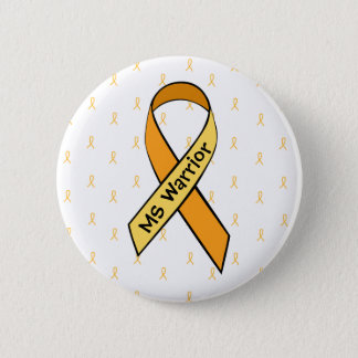 Multiple Sclerosis Awareness Orange Ribbon Button