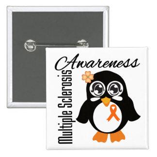 Multiple Sclerosis Awareness Penguin Pinback Button