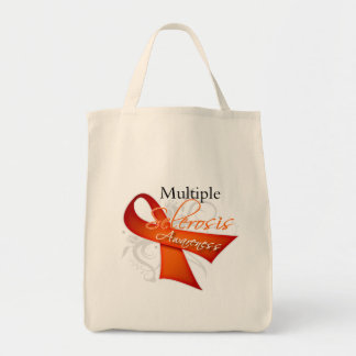 Multiple Sclerosis Awareness Ribbon Grocery Tote Bag