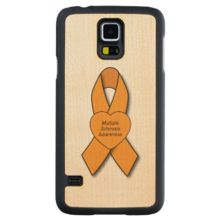 Multiple Sclerosis Awareness Ribbon with Heart Carved® Maple Galaxy S5 Case
