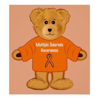 Multiple Sclerosis Awareness Teddy in Sweater Poster