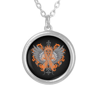 Multiple Sclerosis Awareness Wings Round Pendant Necklace