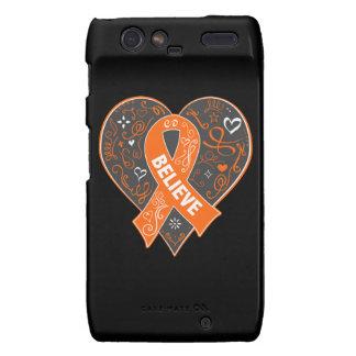 Multiple Sclerosis Believe Ribbon Heart Motorola Droid RAZR Case
