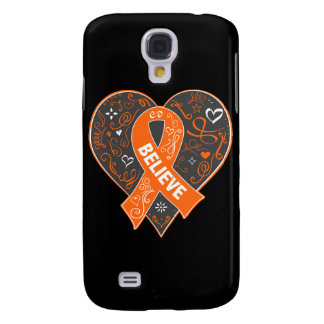 Multiple Sclerosis Believe Ribbon Heart Samsung Galaxy S4 Cases