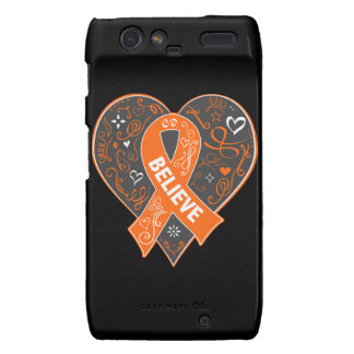Multiple Sclerosis Believe Ribbon Heart Motorola Droid RAZR Cover