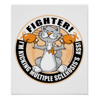 Multiple Sclerosis Boxing Cat Poster