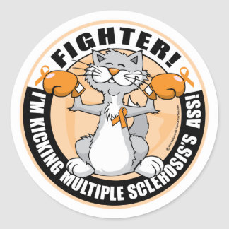 Multiple Sclerosis Boxing Cat Stickers