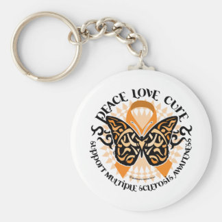 Multiple Sclerosis Butterfly Tribal 2 Basic Round Button Keychain