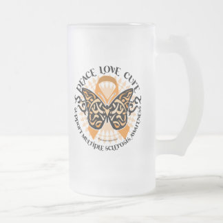 Multiple Sclerosis Butterfly Tribal 2 16 Oz Frosted Glass Beer Mug