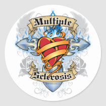 Multiple Sclerosis Cross & Heart Classic Round Sticker