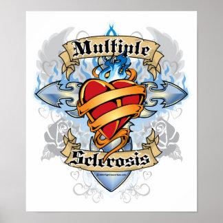 Multiple Sclerosis Cross & Heart Poster