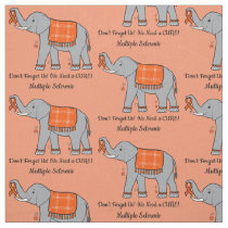 Multiple Sclerosis Elephant of Awareness and Hope Fabric