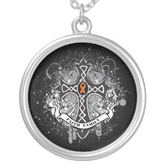 Multiple Sclerosis - Faith Family Prayer Cross Round Pendant Necklace