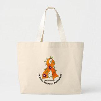 Multiple Sclerosis FLOWER RIBBON 1 Large Tote Bag