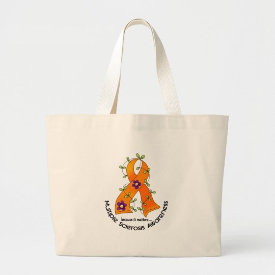 Multiple Sclerosis FLOWER RIBBON 1 Large Tote Bag