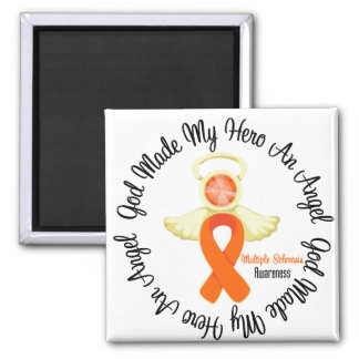 Multiple Sclerosis God Made My Hero An Angel 2 Inch Square Magnet