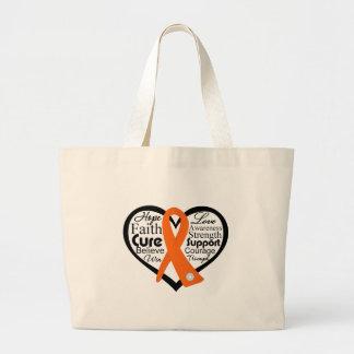 Multiple Sclerosis Heart Ribbon Collage Jumbo Tote Bag