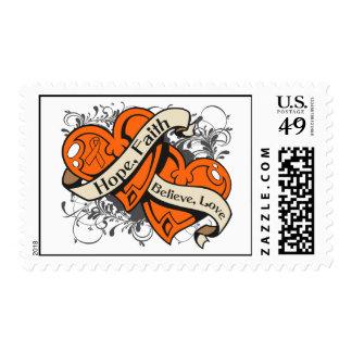 Multiple Sclerosis Hope Faith Dual Hearts Stamp
