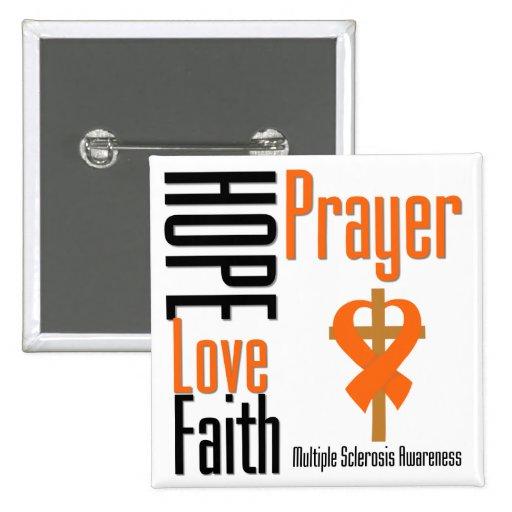Multiple Sclerosis Hope Love Faith Prayer Cross 2 Inch Square Button