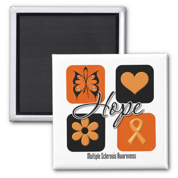Multiple Sclerosis Hope Love Inspire Awareness 2 Inch Square Magnet