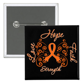 Multiple Sclerosis Hope Motto Butterfly 2 Inch Square Button