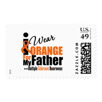 Multiple Sclerosis I Wear Orange For My Father Postage Stamps