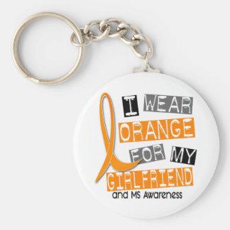 Multiple Sclerosis I Wear Orange For My Girlfriend Basic Round Button Keychain
