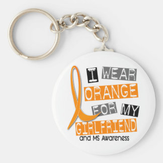 Multiple Sclerosis I Wear Orange For My Girlfriend Keychain