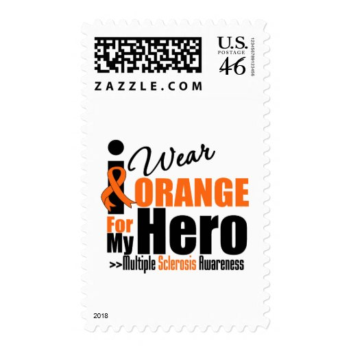 Multiple Sclerosis I Wear Orange For My Hero Stamp