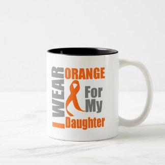 Multiple Sclerosis I Wear Orange Ribbon Daughter Two-Tone Mug