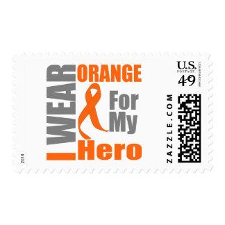 Multiple Sclerosis I Wear Orange Ribbon Hero Stamp